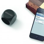 image showing promotional bluetooth metal speaker with phone